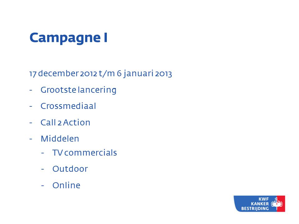 Campagne I 17 december 2012 t/m 6 januari 2013 - Grootste lancering - Crossmediaal - Call 2 Action - Middelen - TV commercials - Outdoor - Online