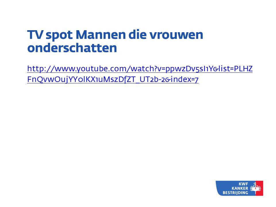 TV spot Mannen die vrouwen onderschatten http://www.youtube.com/watch?v=ppwzDv5sI1Y&list=PLHZ FnQvwOujYY0lKX1uMszDfZT_UT2b-2&index=7