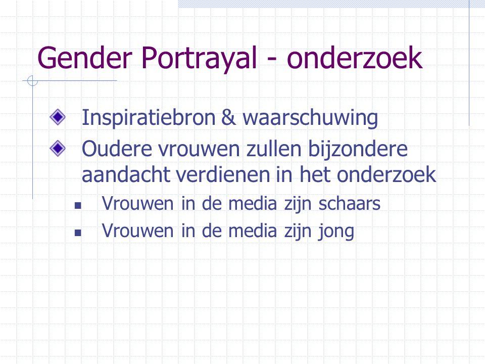 Gender Portrayal - onderzoek Inspiratiebron & waarschuwing Oudere vrouwen zullen bijzondere aandacht verdienen in het onderzoek  Vrouwen in de media zijn schaars  Vrouwen in de media zijn jong
