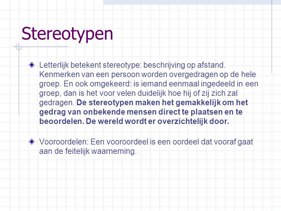 Stereotypen Letterlijk betekent stereotype: beschrijving op afstand.
