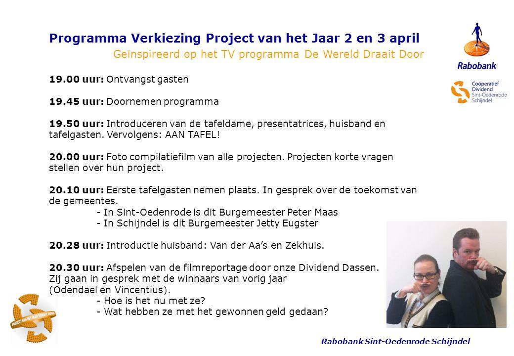 Rabobank Sint-Oedenrode Schijndel Programma Verkiezing Project van het Jaar 2 en 3 april Geïnspireerd op het TV programma De Wereld Draait Door 20.40 uur: Projecten korte vragen stellen.