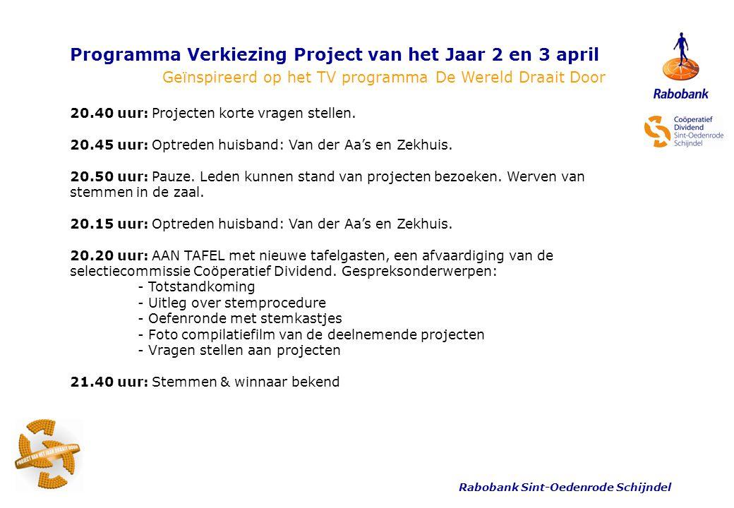 Rabobank Sint-Oedenrode Schijndel Programma Verkiezing Project van het Jaar 2 en 3 april Geïnspireerd op het TV programma De Wereld Draait Door 21.55 uur: Afsluiting door Riny Boeijen.