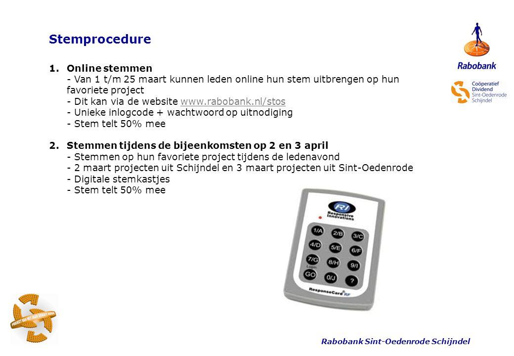 Rabobank Sint-Oedenrode Schijndel Stemprocedure 1.Online stemmen - Van 1 t/m 25 maart kunnen leden online hun stem uitbrengen op hun favoriete project