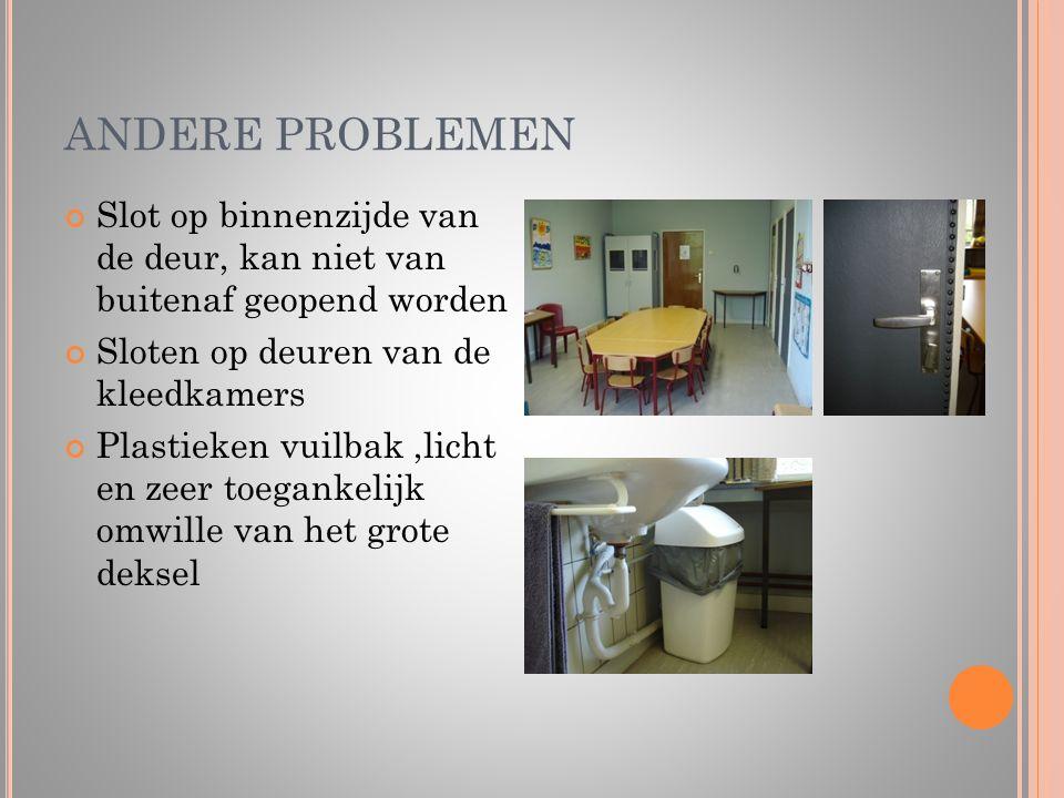 ANDERE PROBLEMEN Slot op binnenzijde van de deur, kan niet van buitenaf geopend worden Sloten op deuren van de kleedkamers Plastieken vuilbak,licht en