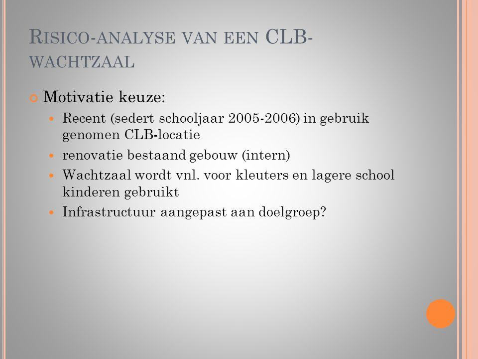 R ISICO - ANALYSE VAN EEN CLB- WACHTZAAL Motivatie keuze:  Recent (sedert schooljaar 2005-2006) in gebruik genomen CLB-locatie  renovatie bestaand g