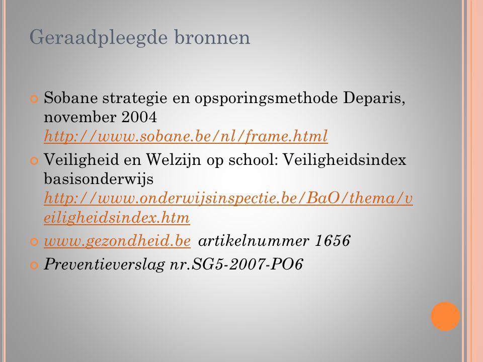 Geraadpleegde bronnen Sobane strategie en opsporingsmethode Deparis, november 2004 http://www.sobane.be/nl/frame.html http://www.sobane.be/nl/frame.ht
