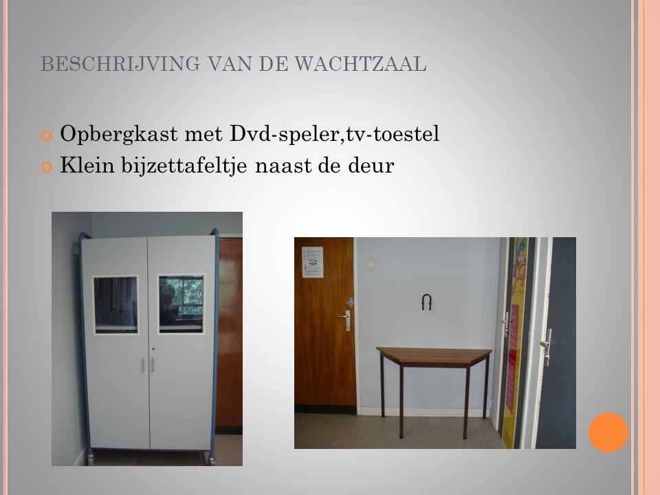 BESCHRIJVING VAN DE WACHTZAAL Opbergkast met Dvd-speler,tv-toestel Klein bijzettafeltje naast de deur