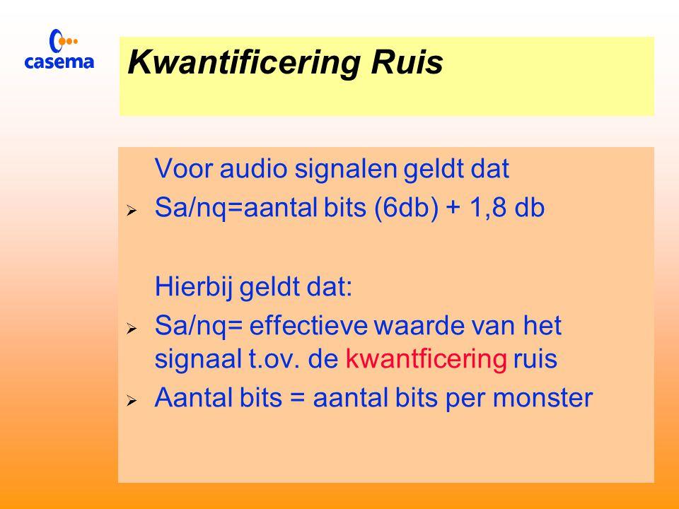 Kwantificering Ruis  Voor video signalen geldt dat:  Sv/nq = aantal bits (6 db) +10,8 db  Hierbij geldt:  Sv/nq = top-top signaal tov kwantificering ruis  Aantal bits = aantal bits per monster