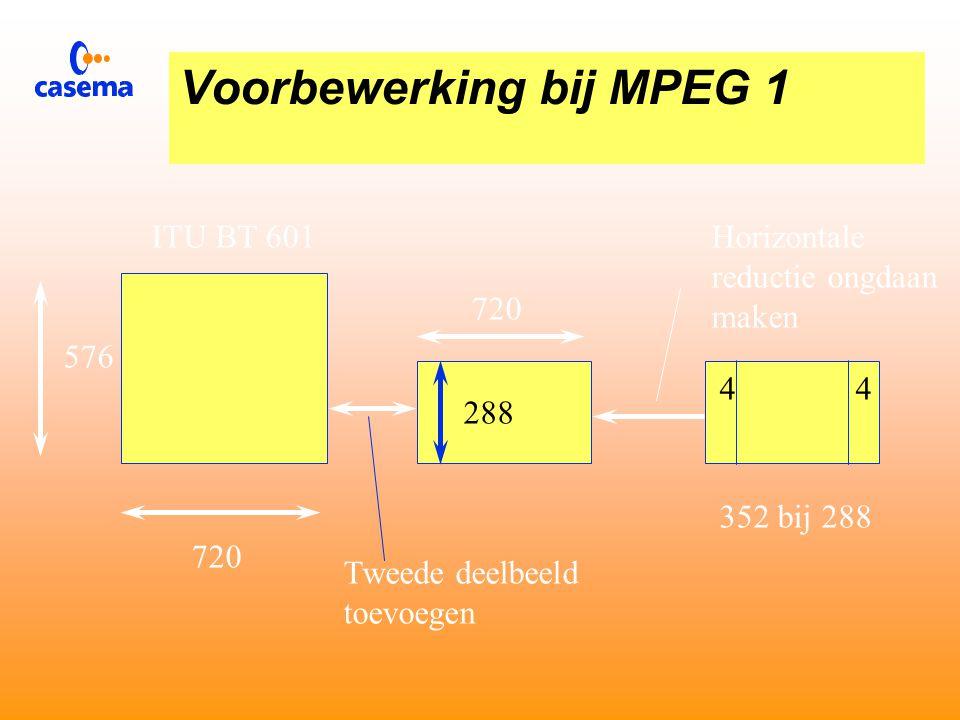 Voorbewerking bij MPEG 1 720 576 ITU BT 601 720 288 352 bij 288 44 Tweede deelbeeld verwijderen Horizontale reductie