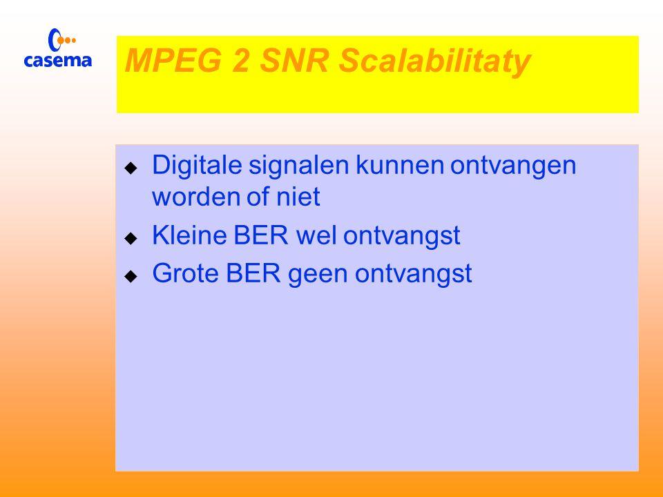  Zorgt voor een goed beeld bij (wat) grotere BER waarden  Het beeld bevat dan wel ruis MPEG 2 SNR Scalabilitaty