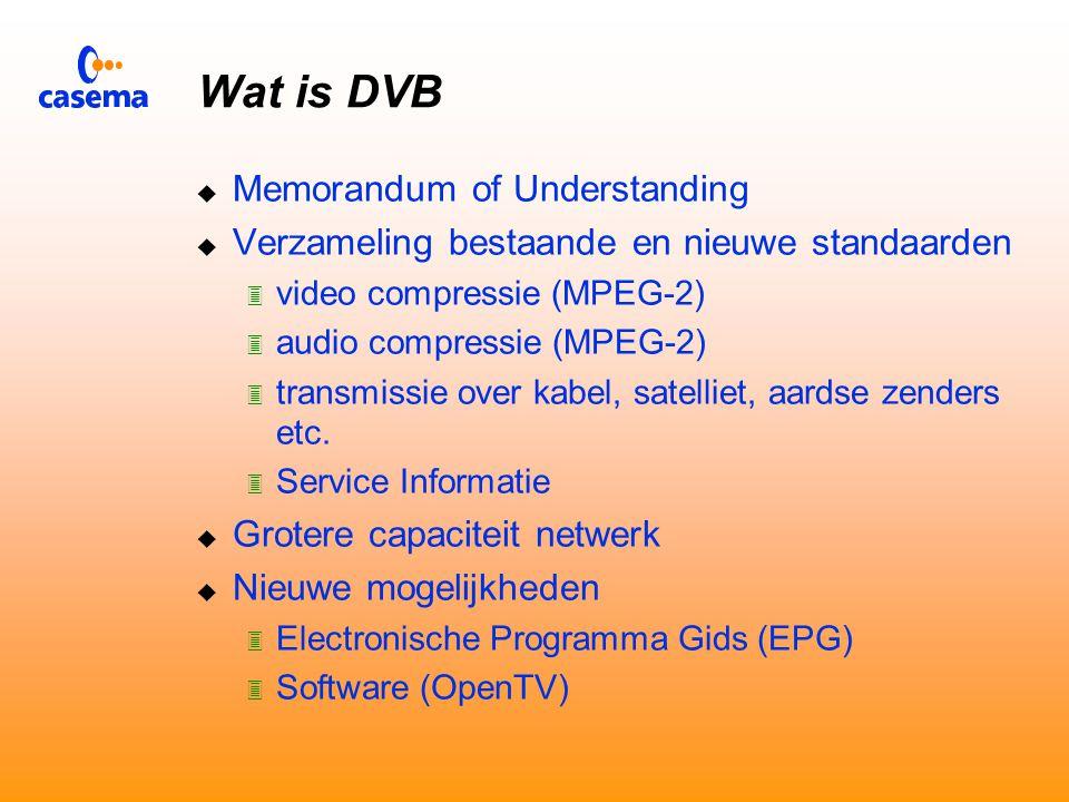 Agenda  Wat is DVB  Plannen van Casema  Opbouw Centraal Ontvangstation  Opbouw Lokaal Centra  Transport  Beheer