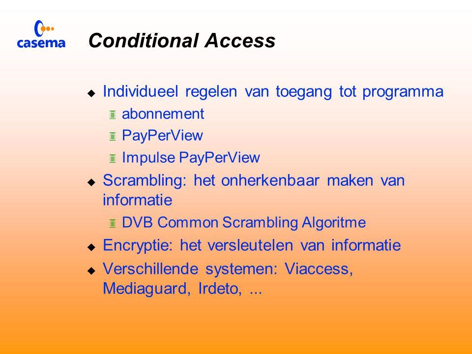 Electronische Programma Gids  Vereenvoudigt keuze uit honderden programma's  Software in de decoder (evt.