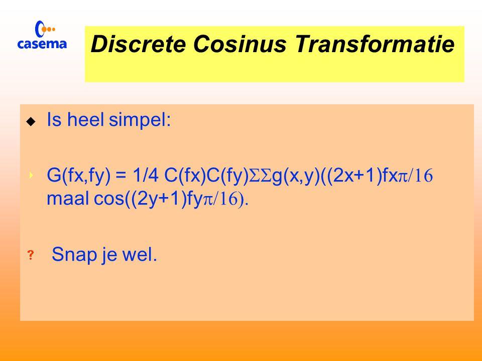 Reductie bij JPEG 8 bij 8 beeldpunten Inverse Discrete Cosinus Transfor m Inverse Kwanti - ficering Inverse Reductie