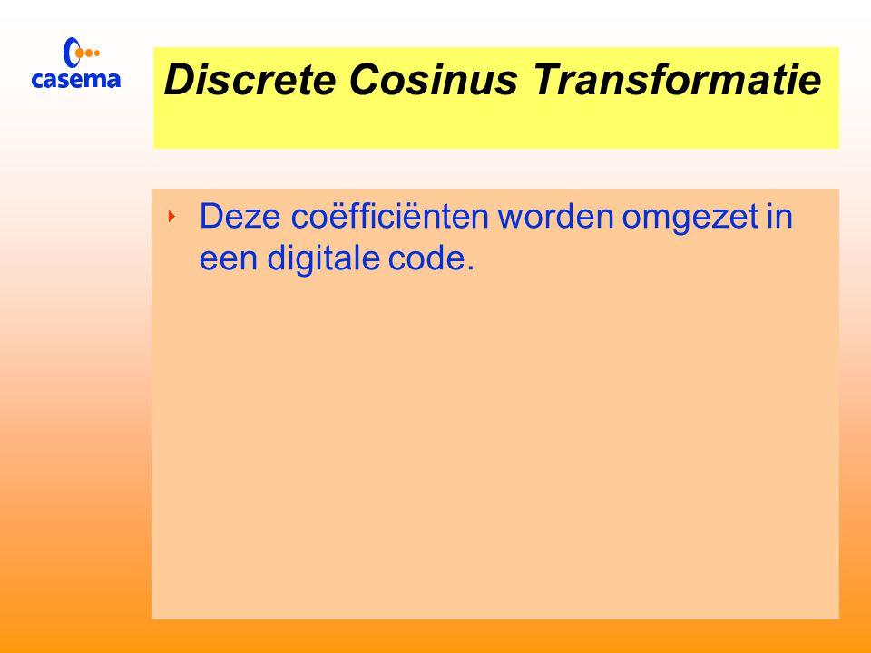 Discrete Cosinus Transformatie  Plaatje van 8 x 8 beeldpunten wordt omgezet:  64 coëfficiënten die de grote (amplitude) van het signaal bij een bepaalde frequentie voorstellen.