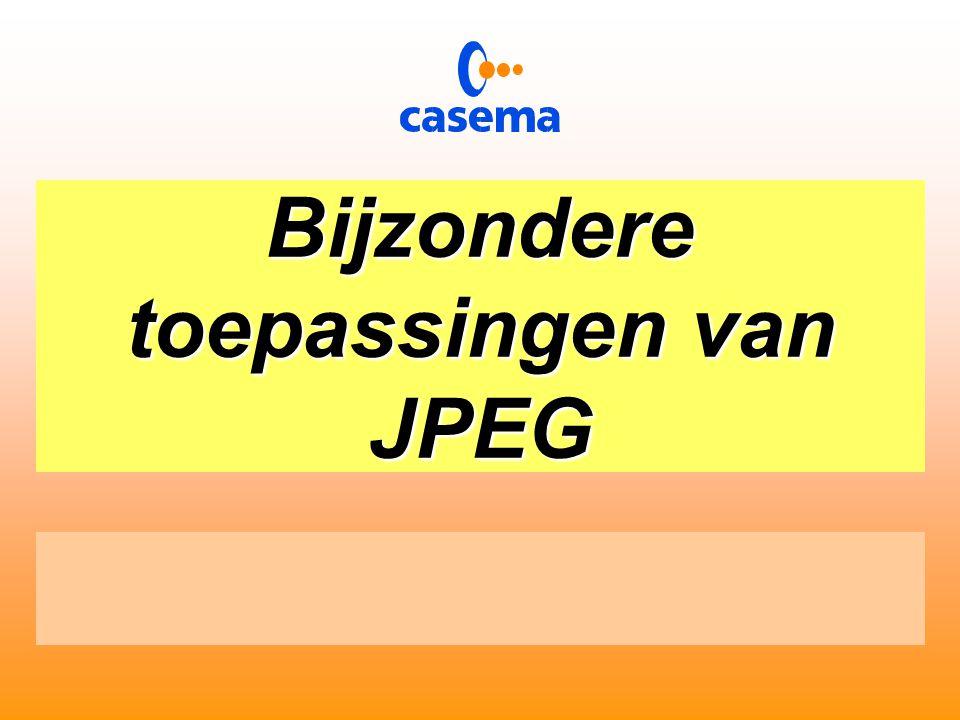 Het versturen van informatie  Kenmerkend voor JPEG is dat de kwantificering tabel wordt meegestuurd  De reductie bedraagt een factor 8  Het ontvangen beeld is subjectief gelijk aan het origineel