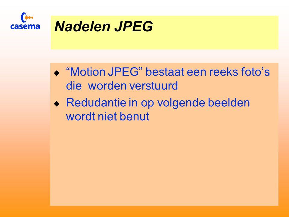 Nadelen JPEG  Het gebruik van JPEG voor bewegende beelden Motion JPEG is niet gestandaardiseerd  De beeld opbouw van JPEG is afgestemd op gebruik in de computerwereld  De beeldopbouw van JPEG komt niet overeen met ITU 601