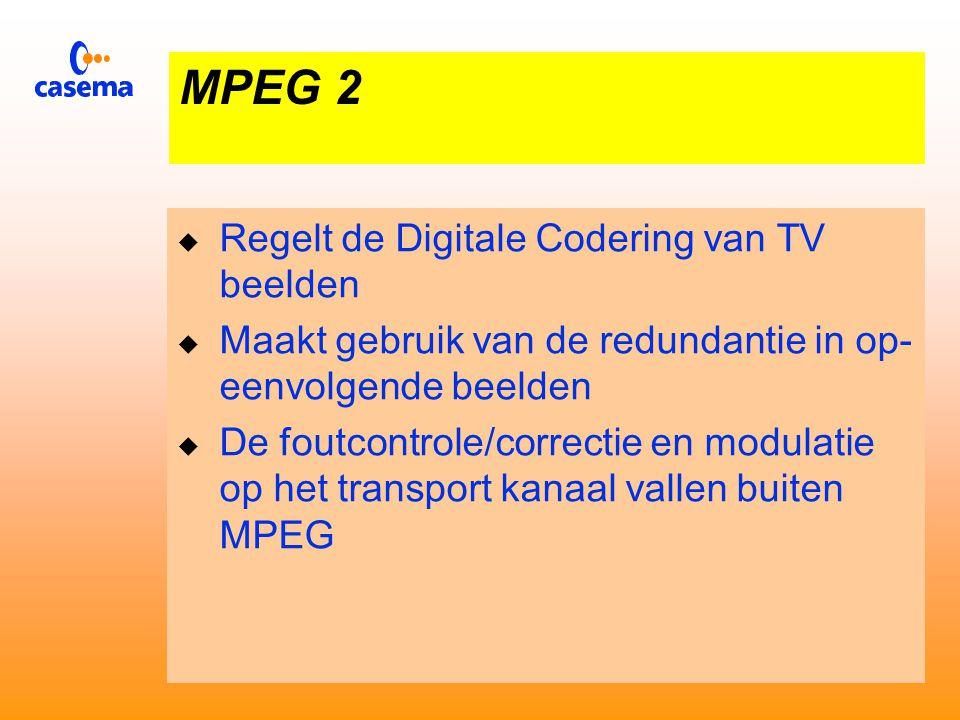 MPEG 2  Digitaal transport van Televisie signalen  Diverse kwaliteitsklassen  Pal kwaliteit - 6 MHz.