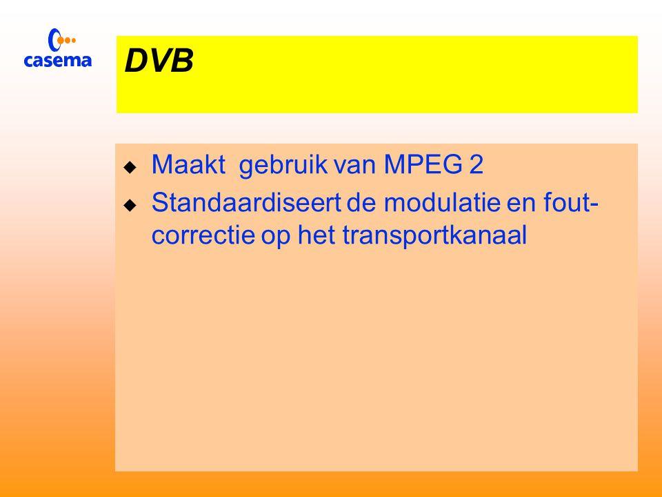 MPEG 2  Regelt de Digitale Codering van TV beelden  Maakt gebruik van de redundantie in op- eenvolgende beelden  De foutcontrole/correctie en modulatie op het transport kanaal vallen buiten MPEG