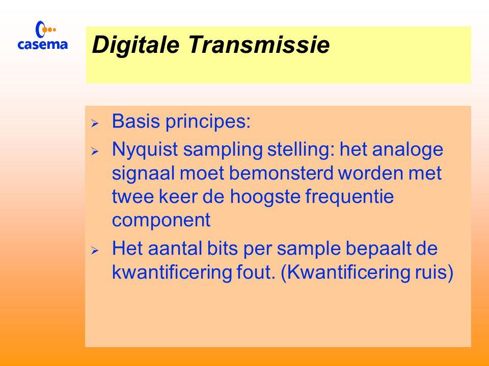Digitalisering via PCM  Bij Puls Code Modulatie herkennen we de volgende drie fasen:  Bemonstering  Kwantificering  Codering