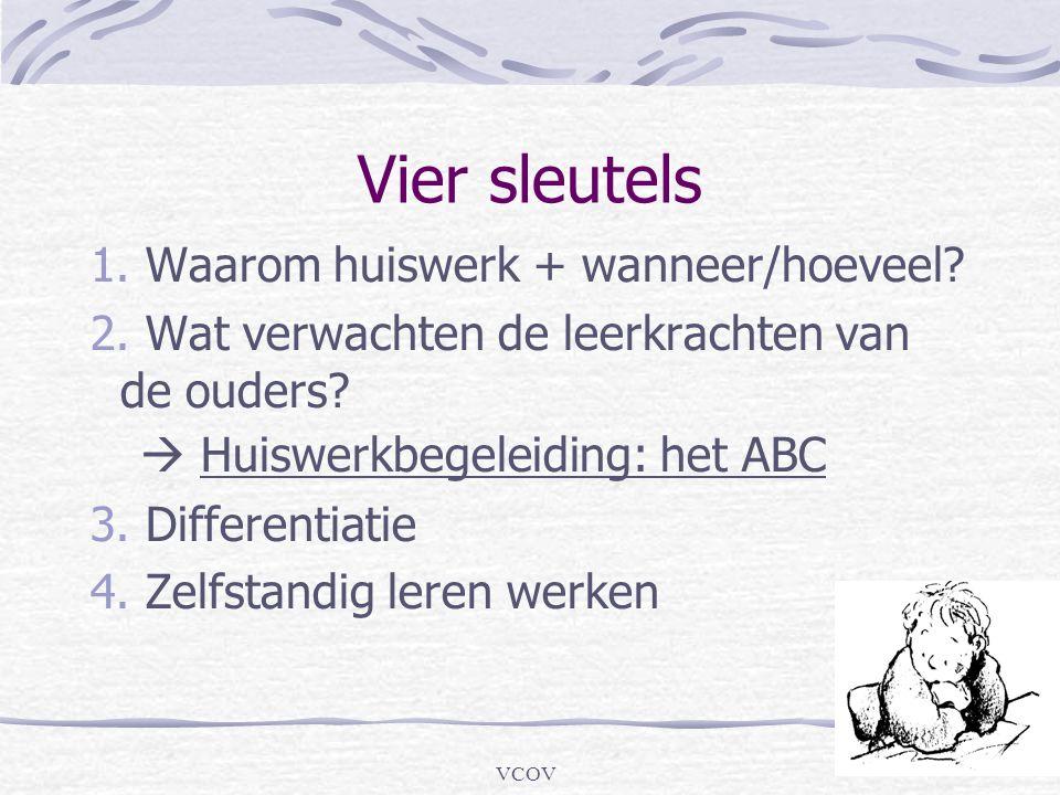 VCOV Vier sleutels 1. Waarom huiswerk + wanneer/hoeveel? 2. Wat verwachten de leerkrachten van de ouders?  Huiswerkbegeleiding: het ABC 3. Differenti