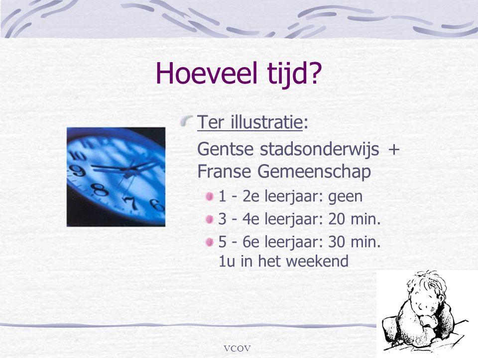 VCOV Hoeveel tijd? Ter illustratie: Gentse stadsonderwijs + Franse Gemeenschap 1 - 2e leerjaar: geen 3 - 4e leerjaar: 20 min. 5 - 6e leerjaar: 30 min.