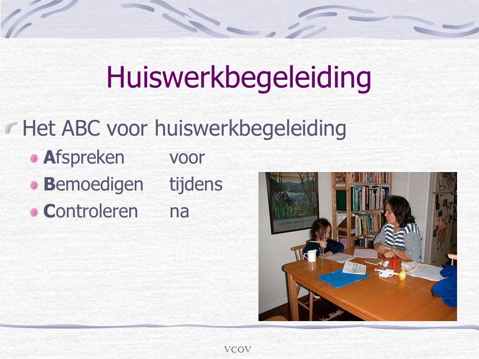 VCOV Huiswerkbegeleiding Het ABC voor huiswerkbegeleiding Afsprekenvoor Bemoedigentijdens Controlerenna
