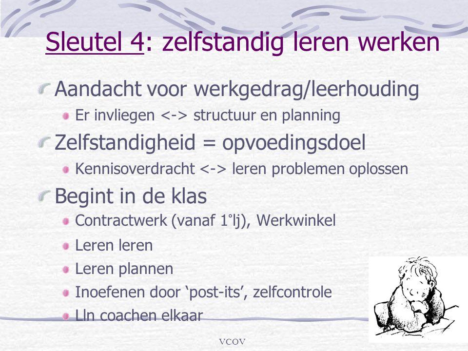 VCOV Sleutel 4: zelfstandig leren werken Aandacht voor werkgedrag/leerhouding Er invliegen structuur en planning Zelfstandigheid = opvoedingsdoel Kenn