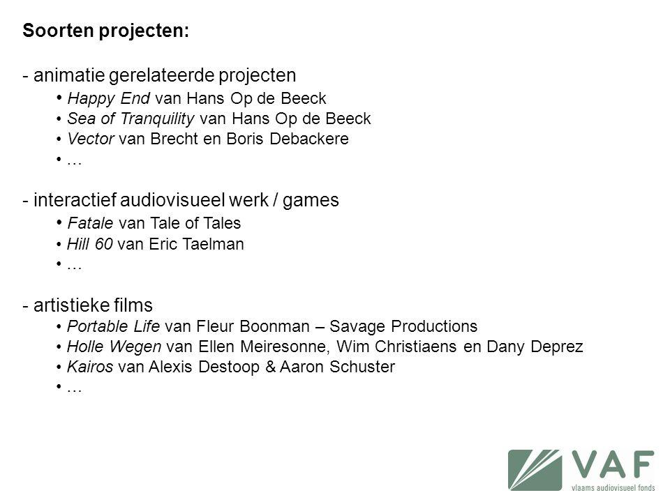 Soorten projecten: - animatie gerelateerde projecten • Happy End van Hans Op de Beeck • Sea of Tranquility van Hans Op de Beeck • Vector van Brecht en