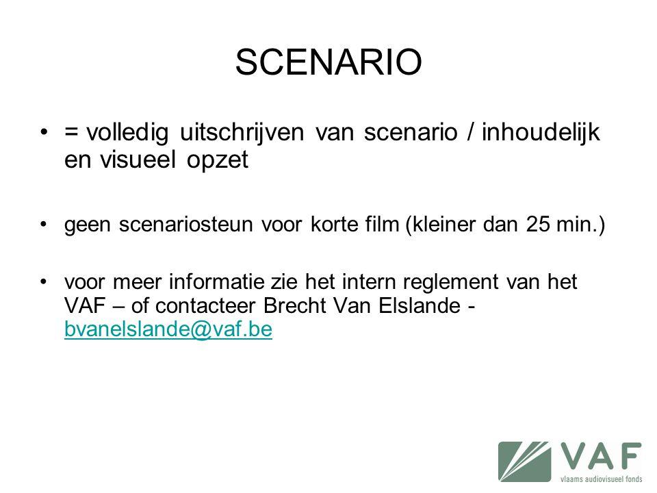 SCENARIO •= volledig uitschrijven van scenario / inhoudelijk en visueel opzet •geen scenariosteun voor korte film (kleiner dan 25 min.) •voor meer inf