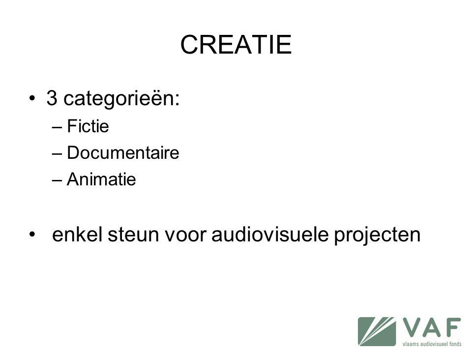 CREATIE •3 categorieën: –Fictie –Documentaire –Animatie • enkel steun voor audiovisuele projecten