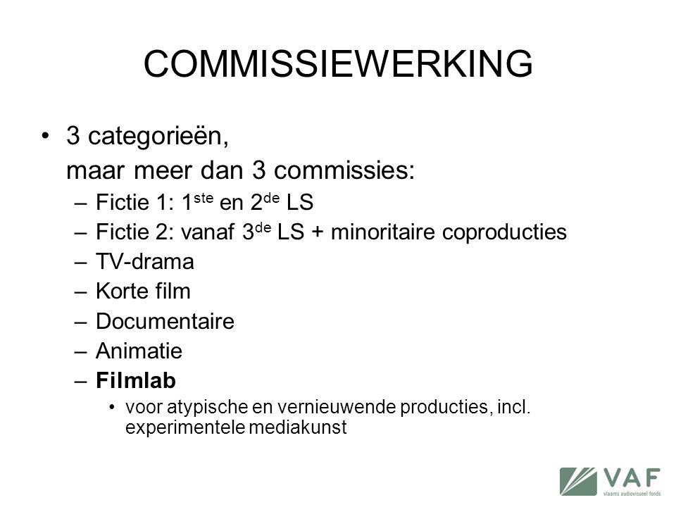 COMMISSIEWERKING •3 categorieën, maar meer dan 3 commissies: –Fictie 1: 1 ste en 2 de LS –Fictie 2: vanaf 3 de LS + minoritaire coproducties –TV-drama
