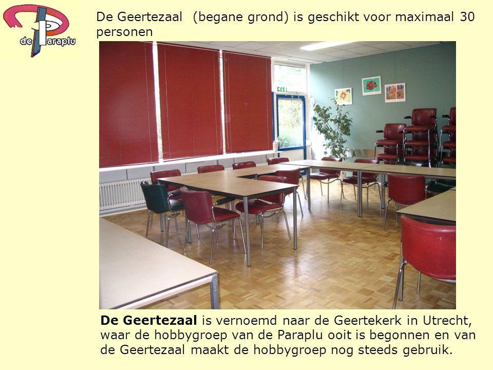 De Geertezaal is vernoemd naar de Geertekerk in Utrecht, waar de hobbygroep van de Paraplu ooit is begonnen en van de Geertezaal maakt de hobbygroep n