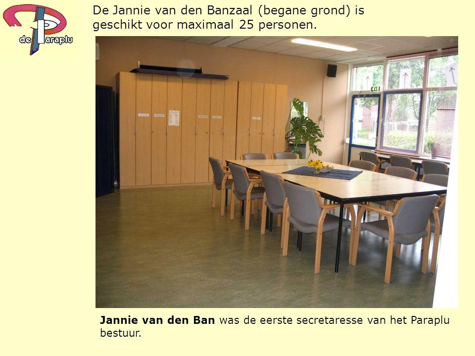 Jannie van den Ban was de eerste secretaresse van het Paraplu bestuur. De Jannie van den Banzaal (begane grond) is geschikt voor maximaal 25 personen.