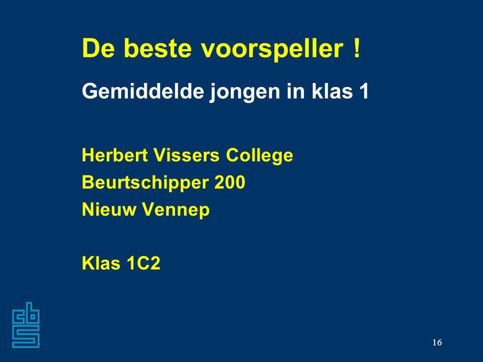 16 De beste voorspeller ! Gemiddelde jongen in klas 1 Herbert Vissers College Beurtschipper 200 Nieuw Vennep Klas 1C2