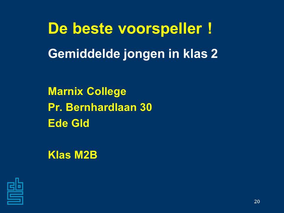 20 De beste voorspeller ! Gemiddelde jongen in klas 2 Marnix College Pr. Bernhardlaan 30 Ede Gld Klas M2B