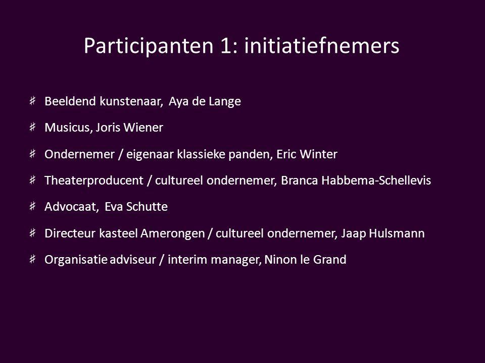 Participanten 1: initiatiefnemers Beeldend kunstenaar, Aya de Lange Musicus, Joris Wiener Ondernemer / eigenaar klassieke panden, Eric Winter Theaterp