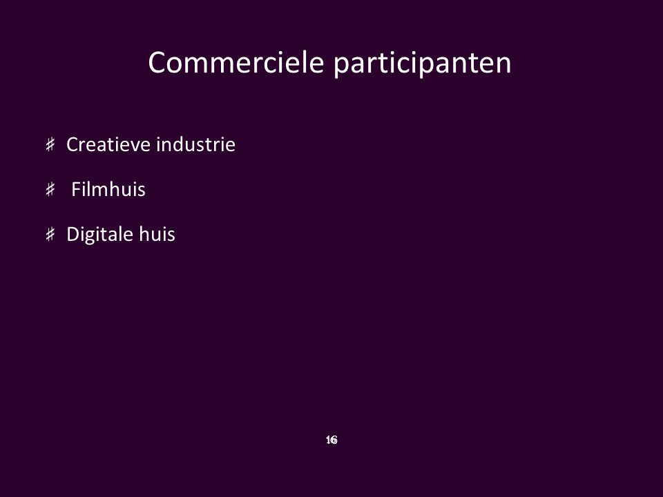 Commerciele participanten Creatieve industrie Filmhuis Digitale huis 16