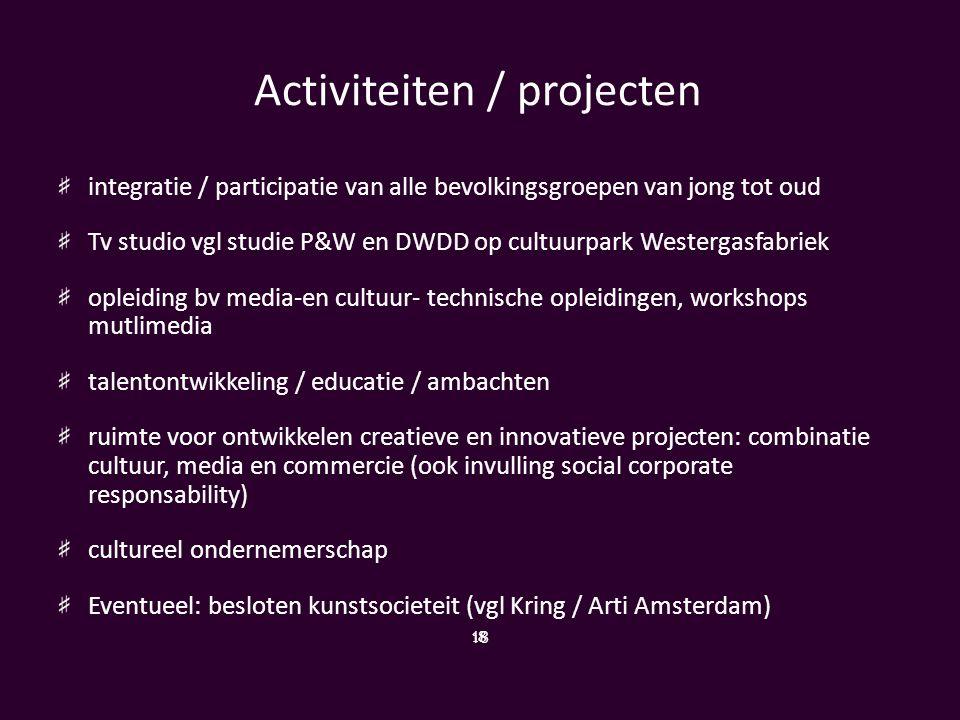 Activiteiten / projecten integratie / participatie van alle bevolkingsgroepen van jong tot oud Tv studio vgl studie P&W en DWDD op cultuurpark Westerg