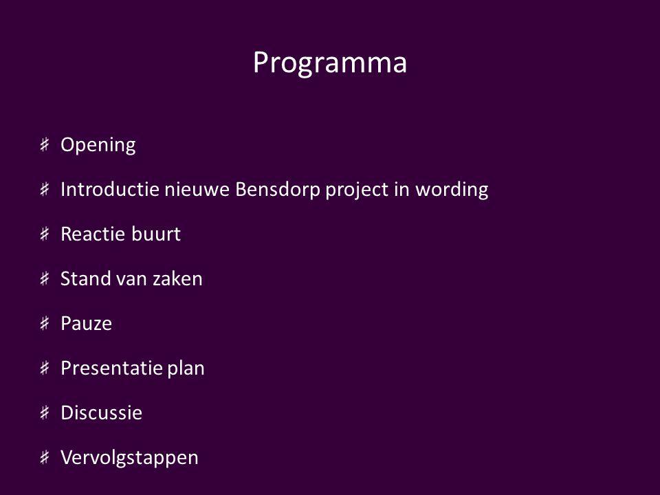 Programma Opening Introductie nieuwe Bensdorp project in wording Reactie buurt Stand van zaken Pauze Presentatie plan Discussie Vervolgstappen