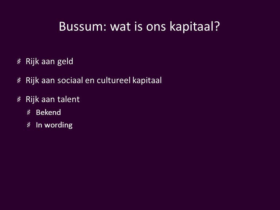 Bussum: wat is ons kapitaal? Rijk aan geld Rijk aan sociaal en cultureel kapitaal Rijk aan talent Bekend In wording