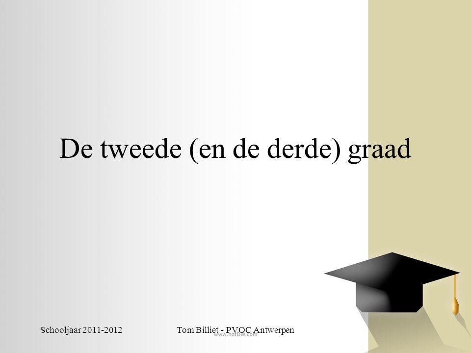 Schooljaar 2011-2012Tom Billiet - PVOC Antwerpen De tweede en derde graad: Algemene theoretische opleiding Voorbereidend op hoger onderwijs Sterke input van talen én wiskunde Geen afkeer hebben van studeren Gemiddelde inzet +/- 1,5u per dag Ambitie om verder te studeren in het hoger onderwijs