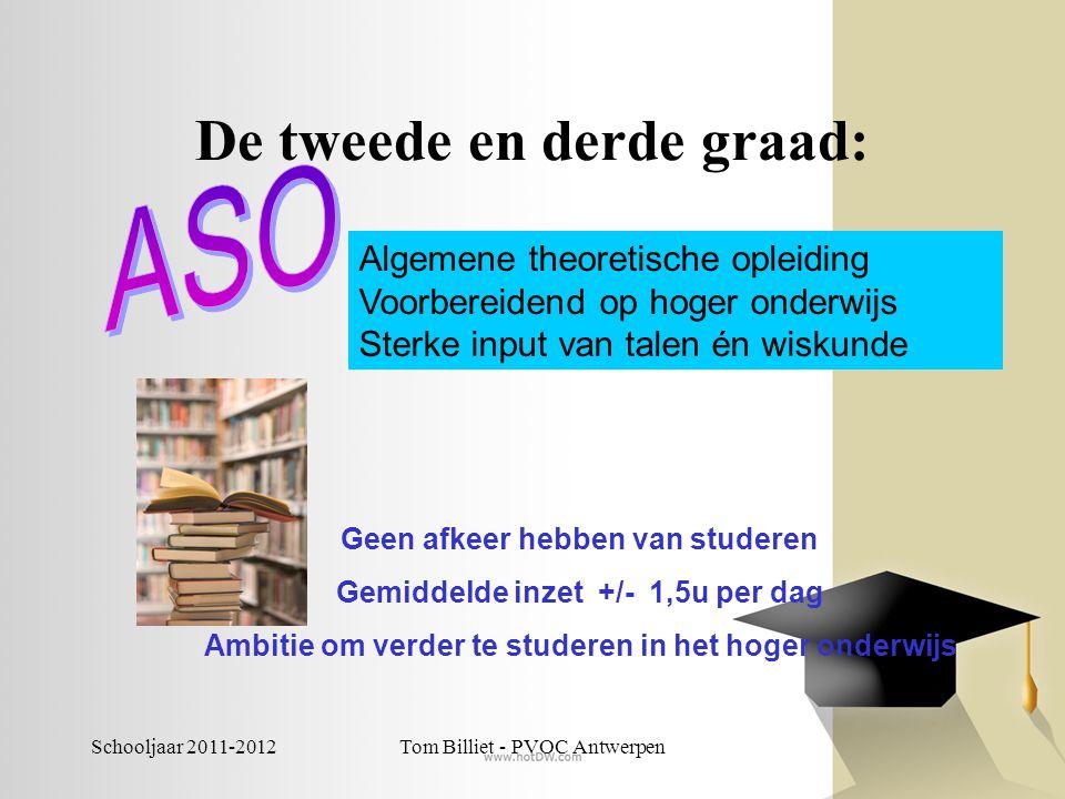 Schooljaar 2011-2012Tom Billiet - PVOC Antwerpen De tweede en derde graad: Algemene theoretische opleiding Voorbereidend op hoger onderwijs Sterke inp