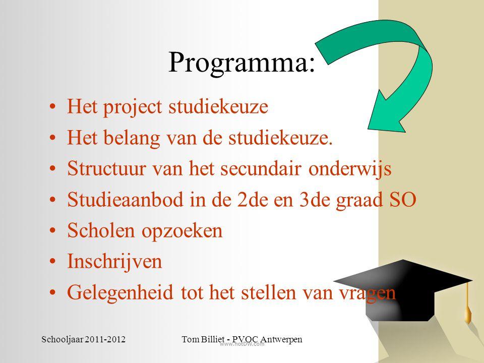 Schooljaar 2011-2012Tom Billiet - PVOC Antwerpen Programma: •Het project studiekeuze •Het belang van de studiekeuze. •Structuur van het secundair onde
