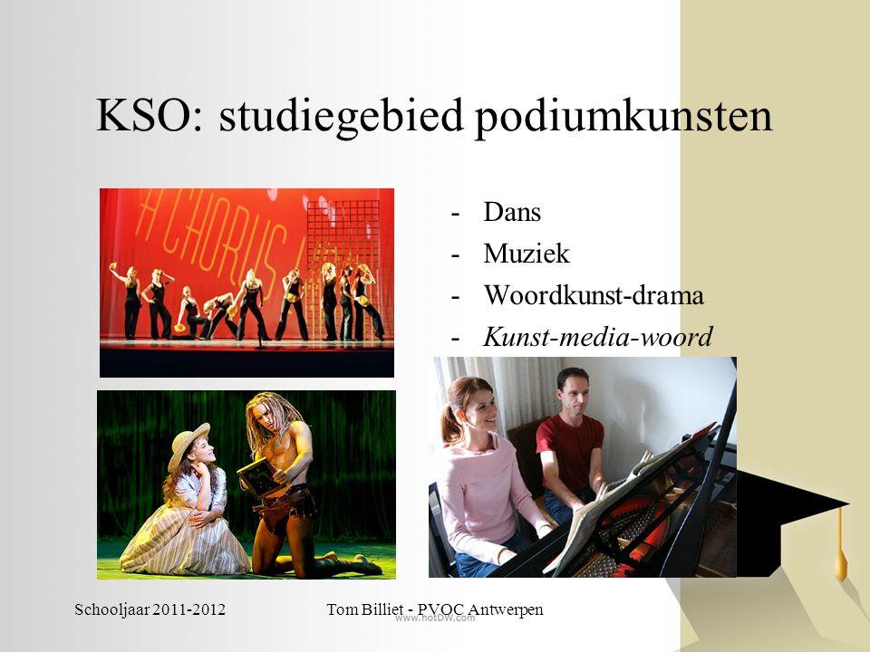 Schooljaar 2011-2012Tom Billiet - PVOC Antwerpen KSO: studiegebied podiumkunsten -Dans -Muziek -Woordkunst-drama -Kunst-media-woord (proeftuin 2de gra