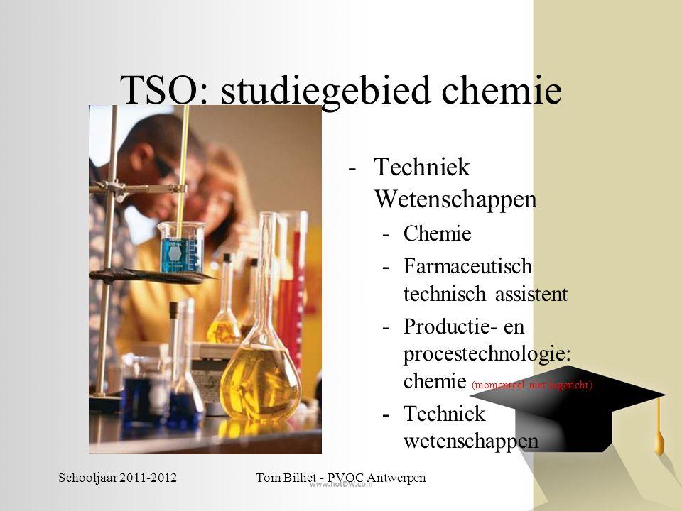 Schooljaar 2011-2012Tom Billiet - PVOC Antwerpen TSO: studiegebied chemie -Techniek Wetenschappen -Chemie -Farmaceutisch technisch assistent -Producti