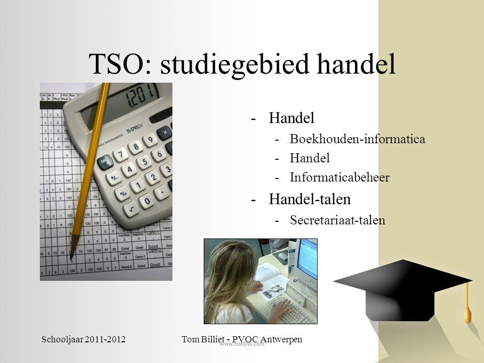 Schooljaar 2011-2012Tom Billiet - PVOC Antwerpen TSO: studiegebied handel -Handel -Boekhouden-informatica -Handel -Informaticabeheer -Handel-talen -Se