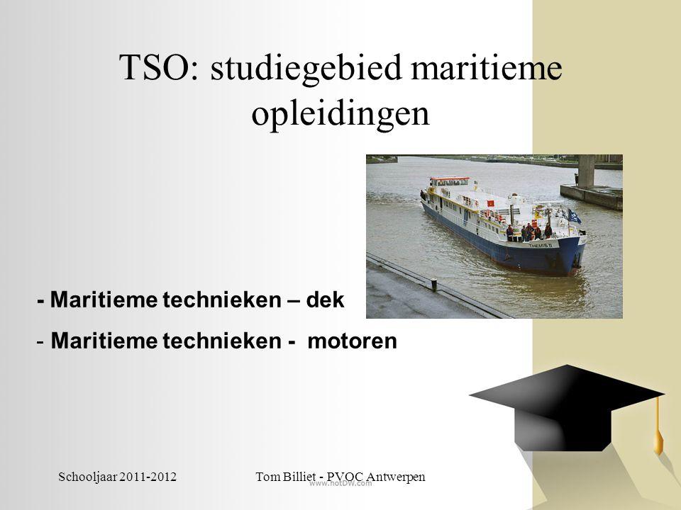 Schooljaar 2011-2012Tom Billiet - PVOC Antwerpen TSO: studiegebied Mechanica- elektriciteit -Elektriciteit-elektronica -Elektromechanica -Elektrotechnieken -Industriële wetenschappen -Mechanische technieken 3de graad biedt ook: -Elektrische installatietechnieken -Elektronische installatietechnieken -Podiumtechnieken -Kunststoftechnieken -Mechanische vormgevingstechnieken -Industriële ICT -Vliegtuigtechnieken