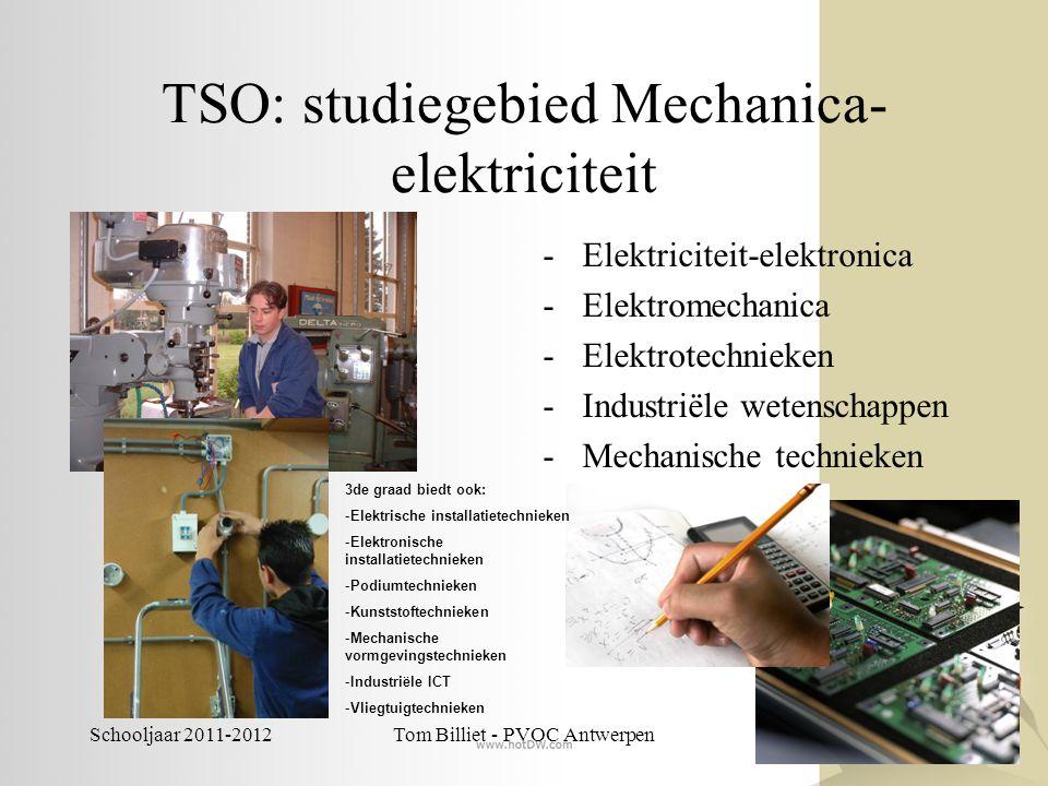 Schooljaar 2011-2012Tom Billiet - PVOC Antwerpen TSO: studiegebied Mechanica- elektriciteit -Elektriciteit-elektronica -Elektromechanica -Elektrotechn