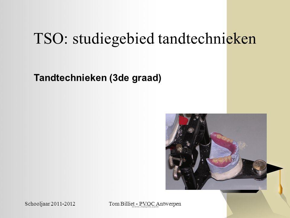 Schooljaar 2011-2012Tom Billiet - PVOC Antwerpen TSO: studiegebied textiel -Textiel en designtechnieken -Textieltechnieken -Textiel- en chemische technieken -Textielproduktietechnieken -Productie- en procestechnologie: textiel (niet ingericht)