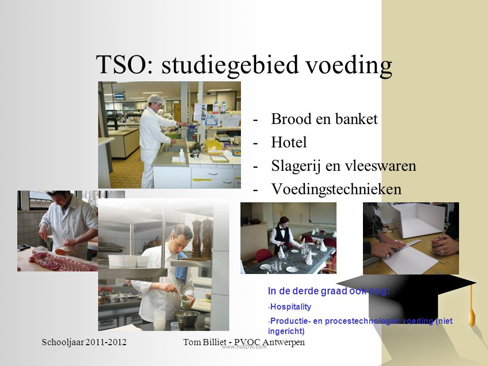 Schooljaar 2011-2012Tom Billiet - PVOC Antwerpen TSO: studiegebied voeding -Brood en banket -Hotel -Slagerij en vleeswaren -Voedingstechnieken In de d